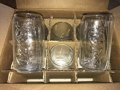 Full set 6 Coca Cola Can shaped clear glasses new in box