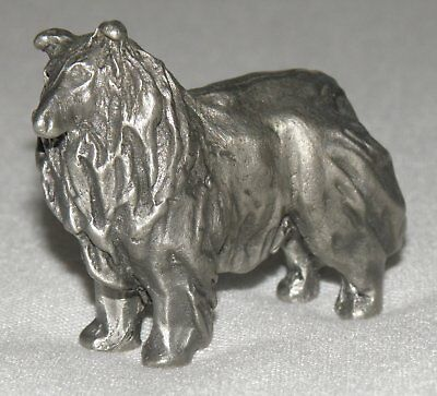 Miniature Pewter Collie Figurine