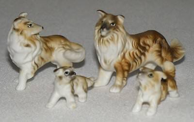 Miniature Bone China Collie Family Of Four
