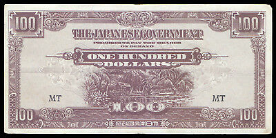 Malaya M8 100 Dollars Japanese Government 1944 Nd Banknote