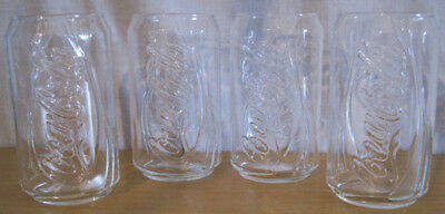 Set4 Coca-Cola Clear Glassware Retro-Style Coke Can Design Glasses Embossed Logo