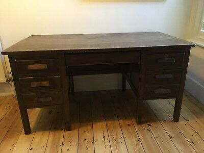 Vintage retro style Desk, dark wood pedestal.