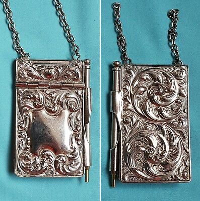 Antique Victorian silver plated chatelaine miniature note book holder & pencil
