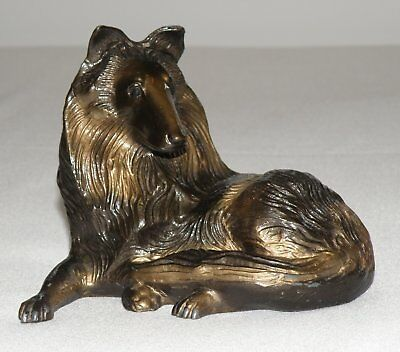 Hand Cast Metal Antique Copper Colored Collie Sculpture