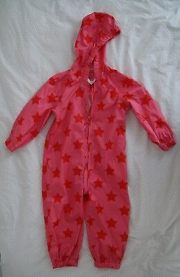 NEXT GIRL ALL-IN-ONE light RAIN SUIT PINK AND RED STARS