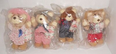 1986 Wendy's Furskins Set of 4 New in Bag Hattie Boone Dudley Farrell Bears