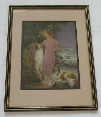 Original Vintage Adelaide Hiebel Pretty Lady And Collies Print In Vintage Frame