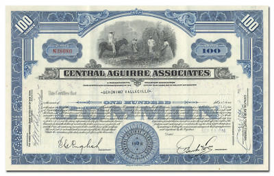 PUERTO RICO Central Aguirre Associates Stock Certificate 1940s