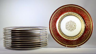 12 H&C Selb Bavaria Heinrich & Co Dinner Plates Burgandy