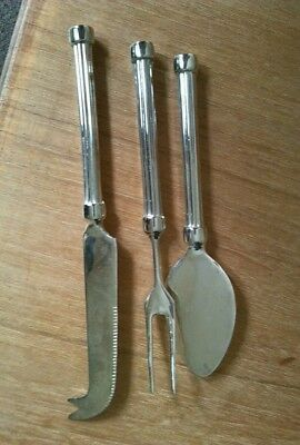 Vintage antique supper servers; cheese knife, pickle fork, pastry server