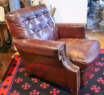 1920's Antique Leather Horsehair BAMBERGER & Co. Club Chair - Fantastic Cond.