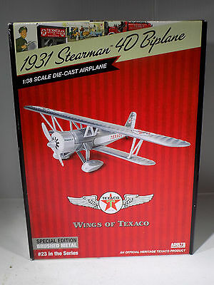 Wings Of Texaco # 23 1931 Stearman 4 D Biplane Special Brushed Metal Edition