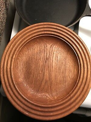"""(4) Vintage 9"""" Wood Wooden Bowls Plates 9-1/2"""" X 1"""" Rings Pattern Shallow"""