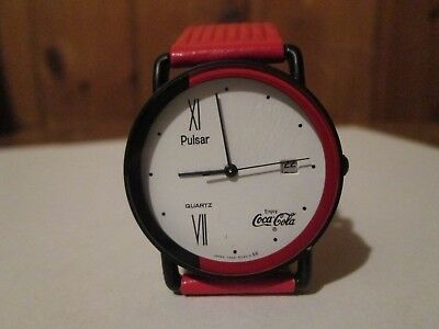 Retro Enjoy Coca Cola Watch by Pulsar New Battery Running Date Leather Band WOW!