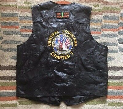 Vietnam Veteran Biker Motorcycle Club Leather Vest Harley Davidson XXL