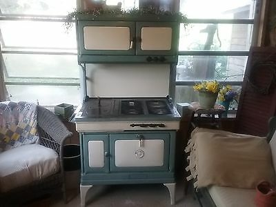 Green and Cream Porcelin Universal Wood Gas Coal Cook Stove Oven Antique Vintage