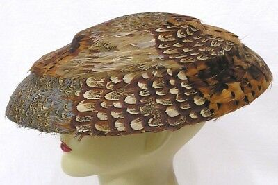 Vtg Womens Ladies Platter Hat Pheasant FEATHERS 1940s-50s WOW!