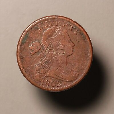 1802 US Large Cent, S - 242, Counterstamped