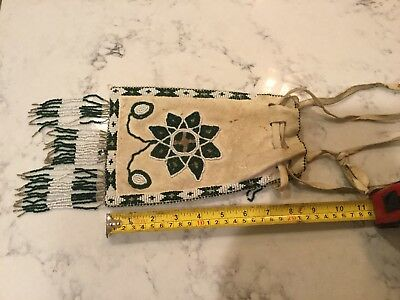 19th C. Indian Native American Beaded Double Sided Hide  Bag