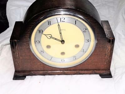 Vintage Smiths British Made Westminster Chiming Oak Case Mantle Clock,working.