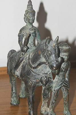 Antique Rare South Asia  Bronze Figure On A Horse With A Soldier