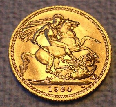Gold Full Sovereign 1964 Queen Elizabeth II Young Head. Very Nice Uncirculated!