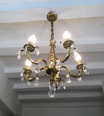 Vintage French Gilt Bronze Chandelier 5 Arm Ornate Ceiling Light Crystal Prisms