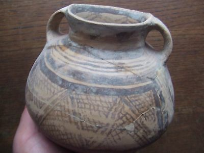 China.  Neolithic Period.  Large Twin Handled  Pottery Jar With Decoration,