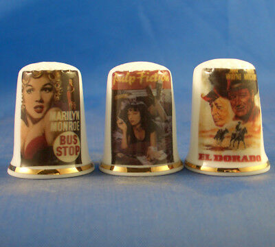 Fine Porcelain China Thimbles - Set Of Three Iconic Movie Posters