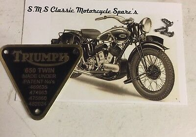 (F18) 70-2909 Genuine Triumph 650 Twin Brass Patent Plate Badge With 3 Rivets
