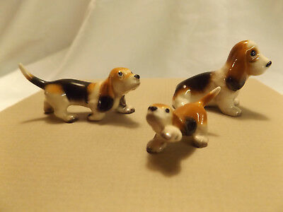Bone China Miniature Dog & Puppy Figures BEAGLES ceramic figurine