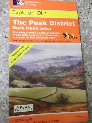 Ordnance Survey Explorer Map The Peak District, Dark Peak area.