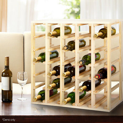 30 Bottle Timber Wine Rack Wooden Storage Cellar Organiser Shelf Stand Stacks
