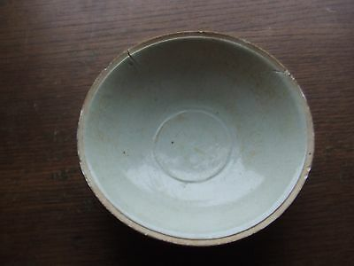 China.  Sung Dynasty.  969 - 1280 Ad. Celedon Glazed Pottery Bowl,   Repaired.