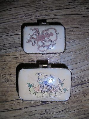 2 X Antique Chinese Bone Trinket Box's. Boy Riding a Carp and an Octopus.