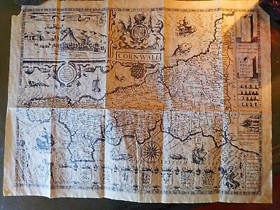 """1610 Antique Map Of Cornwall - John Speede - """"antiqued Parchment"""" Replica Repro"""