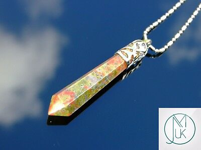Unakite Crystal Long Point Pendant Natural Gemstone Necklace Healing Stone