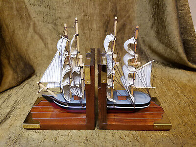 Pair of Vintage Wooden Sailing Ship Book Ends - Nautical Decor