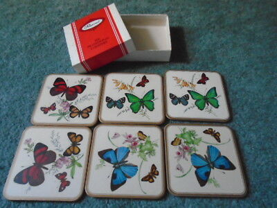 Vintage Pimpernel Coasters in Box - Butterflies - Cork Backed