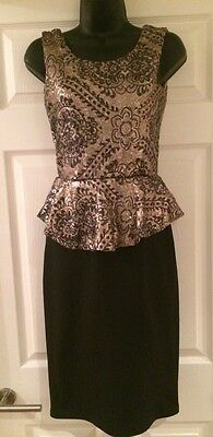 Quiz Black Gold Sequinned Stunning Cocktail Party Dress Size 10 BNWT