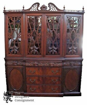 Antique Mahogany High Relief China Cabinet Cupboard Floral Carved Crest Germany