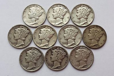 Lot of 10, 1940's dates 90% Silver Mercury Dimes!