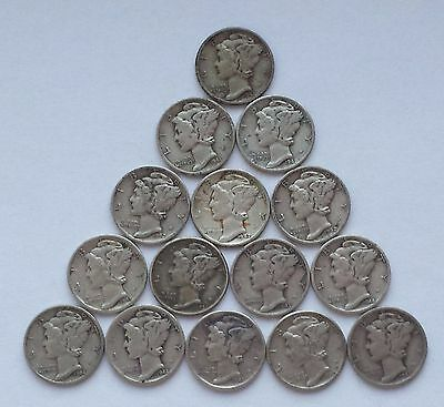 Mercury Dime Short Set, 1941-1945 P,D,S mints - 90% Silver (15 total coins)