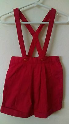Vtg Baby's Red Cotton Lederhosen Style Overalls 18 mos - Vintage Boys or Girls