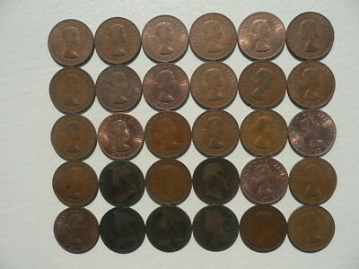Lot of 30 One Penny Coins of England - mix of reigns