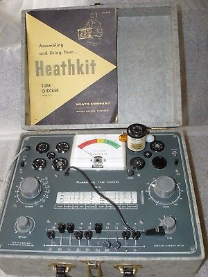 Nice Heathkit TC-2 Tube Tester In Case, Assembly & Instruction Manual