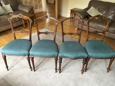 4 antique walnut chairs - for restoration - Bargain To Sell Quickly