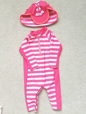 Marks & Spencer baby girl's sun and swim suit with hat. 6-9 months. WORN TWICE!