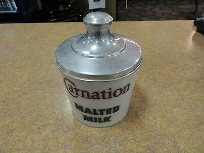 Vintage Carnation Milk Glass Canister > Great Advertising > Perfect Condition!