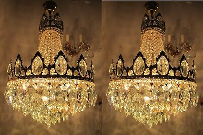 Pair of Antique French LARGE Basket Style Crystal Chandelier 1940's 17 in Ø